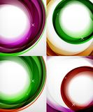 Transparent color wave lines abstract background set, glossy glass waves, vector abstract backgrounds, shiny light. Vector transparent color wave lines abstract Stock Images