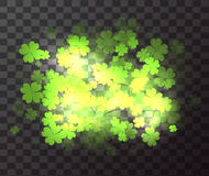 Vector transparent element with a happy four-leaf clover. Sparks and blurred bokeh. St.Patrick `s Day. Celebratory element for your design Stock Photos
