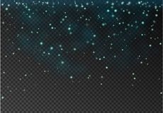 Vector transparent falling star isolated on dark background. Blu. E glitter particles effect for luxury greeting rich card. Sparkling texture. dust sparks in Royalty Free Stock Photo