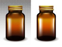 Vector transparent glass jar for cosmetics and medicines royalty free illustration