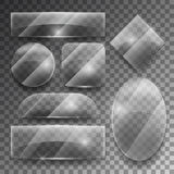 Vector transparent glass plates set Stock Images