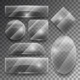 Vector transparent glass plates set Stock Images
