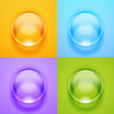 Vector transparent glass sphere with glares and highlights. Stock Photos