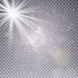 Vector transparent sunlight special lens flare light effect. Sun flash with rays , snow and spotlight Stock Photography