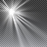 Vector transparent sunlight special lens. Flare light effect. Sun flash with rays and spotlight Royalty Free Stock Photo