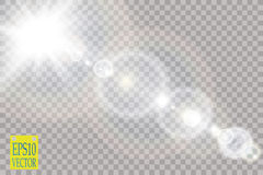 Vector transparent sunlight special lens flare light effect. Stock Photos