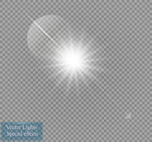 Vector transparent sunlight special lens flare light effect. Sun flash with rays and spotlight Royalty Free Stock Photos