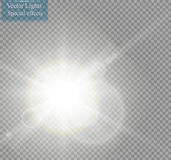 Vector transparent sunlight special lens flare light effect. Sun flash with rays and spotlight. On transparent backgraund Royalty Free Stock Photography