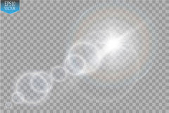 Vector transparent sunlight special lens flare light effect. Sun flash with rays and spotlight Royalty Free Stock Images