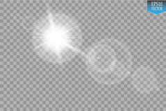 Vector transparent sunlight special lens flare light effect. Sun flash with rays and spotlight Stock Photos
