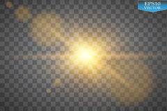 Vector transparent sunlight special lens flare light effect. Sun flash with rays and spotlight. On transparent backgraund Stock Photos