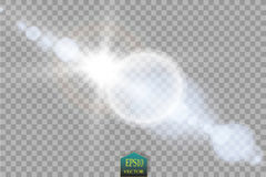Vector transparent sunlight special lens flare light effect. Sun flash with rays and spotlight. On transparent backgraund Stock Images