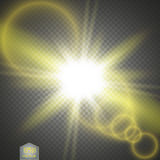 Vector transparent sunlight special lens flare light effect. Sun flash with rays and spotlight stock illustration