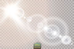 Vector transparent sunlight special lens flare light effect. Sun flash with rays and spotlight. On transparent backgraund Royalty Free Stock Image