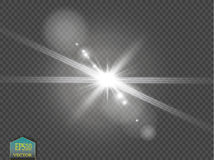 Vector transparent sunlight special lens flare light effect. Sun flash with rays and spotlight. On transparent backgraund Stock Photo