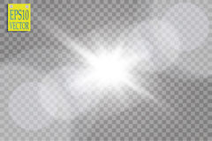 Vector transparent sunlight special lens flare light effect. Sun flash with rays and spotlight. On transparent backgraund Royalty Free Stock Images