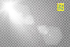 Vector transparent sunlight special lens flare light effect. Sun flash with rays and spotlight. On transparent backgraund Royalty Free Stock Photos