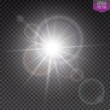 Vector transparent sunlight special lens flare light effect. Sun flash with rays and spotlight. Eps 10 Royalty Free Stock Images