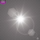 Vector transparent sunlight special lens flare light effect. Sun flash with rays and spotlight. Eps 10 Stock Photography
