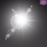 Vector transparent sunlight special lens flare light effect. Sun flash with rays and spotlight. Eps 10 Stock Image