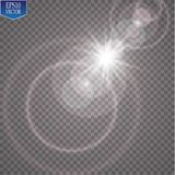 Vector transparent sunlight special lens flare light effect. Sun flash with rays and spotlight. Eps 10 Royalty Free Stock Photos