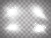 Vector transparent sunlight special lens flare light effect. Sun flash with rays and spotlight. Glow light effect. Royalty Free Stock Images
