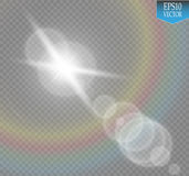 Vector transparent sunlight special lens flare light effect. Sun flash with rays and spotlight on transparent backgraund Royalty Free Stock Photography