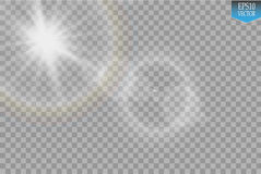 Vector transparent sunlight special lens flare light effect. Sun flash with rays and spotlight on transparent backgraund.  Stock Images