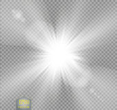 Vector transparent sunlight special lens flare light effect.. Sun flash with rays and spotlight on transparent backgraund Royalty Free Stock Images