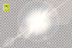 Vector transparent sunlight special lens flare light effect. Sun flash with rays and spotlight. On transparent backgraund Stock Image
