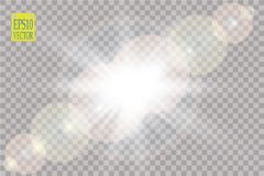 Vector transparent sunlight special lens flare light effect. Sun flash. Vector transparent sunlight special lens flare light effect. Sun flash with rays and Royalty Free Stock Images