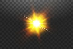 Vector transparent sunlight special lens flare light effect. Sun isolated on transparent background. Glow light effect.  royalty free illustration