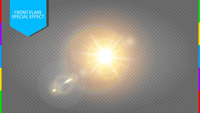 Vector transparent sunlight special lens flare light effect transparency in additional format only. Translucent sun flash with rays and spotlight. Golden warm vector illustration