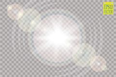 Vector transparent sunlight special lens flare light effect.. Sun flash with rays and spotlight. eps 10 Royalty Free Stock Photography