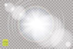 Vector transparent sunlight special lens flare light effect.. Vector transparent sunlight special lens flare light effect. Sun flash with rays and spotlight Stock Image