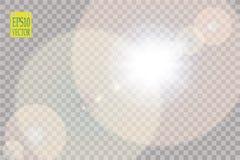 Vector transparent sunlight special lens flare light effect.. Vector transparent sunlight special lens flare light effect. Sun flash with rays and spotlight Royalty Free Stock Image