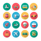 Vector transport icons in flat style Royalty Free Stock Image