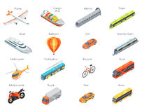 Vector Transport Icons in Isometric Projection Stock Photos