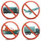 Vector Transport with Prohibitory Sign Stock Photography