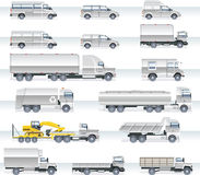 Vector transportation icon set. Trucks and vans Royalty Free Stock Images