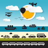 Vector Transportation Icons on Landscape Background Stock Photography