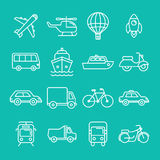 Vector transportation icons and signs. In trendy mono line style - outline illustrations - different vehicles Stock Photography