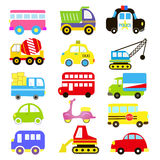 Vector of Transportation theme with Car, Vehicle, truck, taxi, tourist bus, train. A set of cute and colorful icon collection isol Stock Images