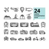 Vector transportation and travel related set of 24 light outline icons. For UI, web design. Airplane, ship, train, bus and other public transport symbols; car Stock Image