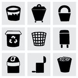 Vector Trash can icon set Stock Image