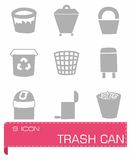 Vector Trash can icon set Royalty Free Stock Images