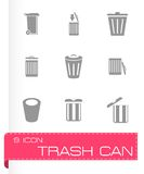 Vector trash icon set. On grey background Stock Images