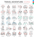 Vector Travel adventures ultra modern outline line icons for apps and web design. Travel sybols for app and web. Royalty Free Stock Image