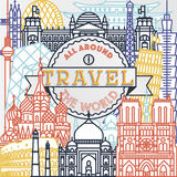 Vector travel all around the world poster. Vector line travel all around the world poster Royalty Free Illustration