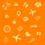 Vector travel background orange. Seamless pattern Royalty Free Stock Photos